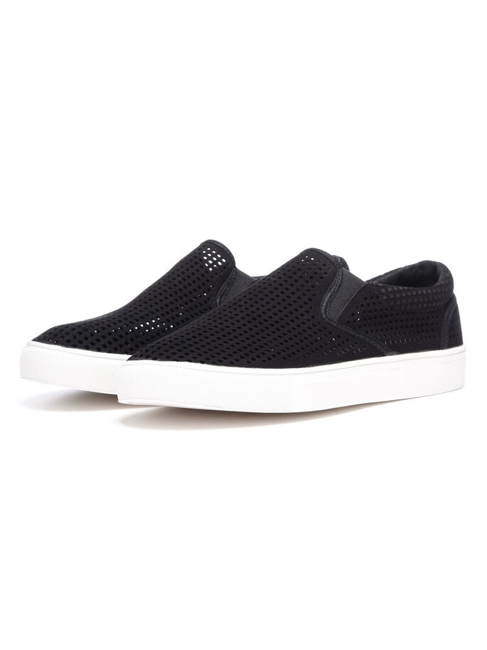 MEN'S CUTOUT MENS SLIP-ONS, Black, large