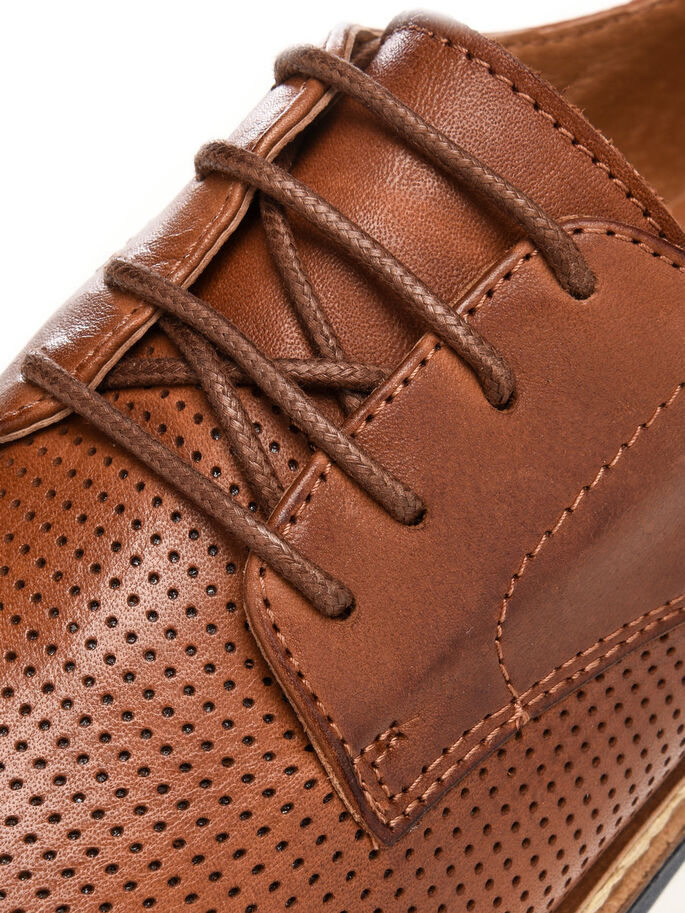 CLEAVED LACED UP DERBY SHOES, Light Brown, large