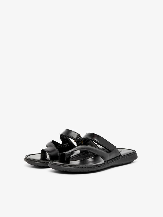 BIASAMINA LEATHER SANDALS, Black, large
