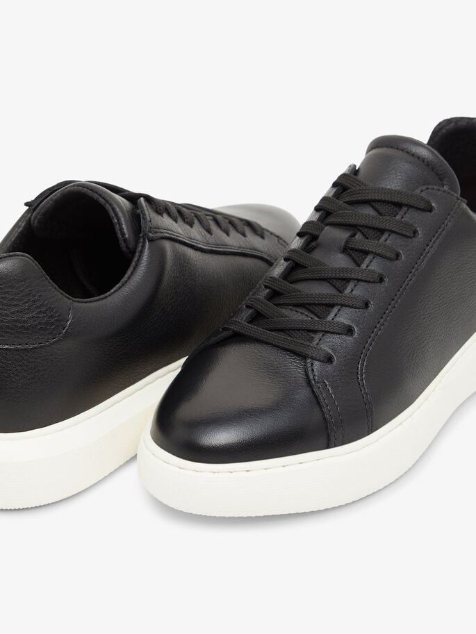BIAKING LÆDERSNEAKERS, Black, large