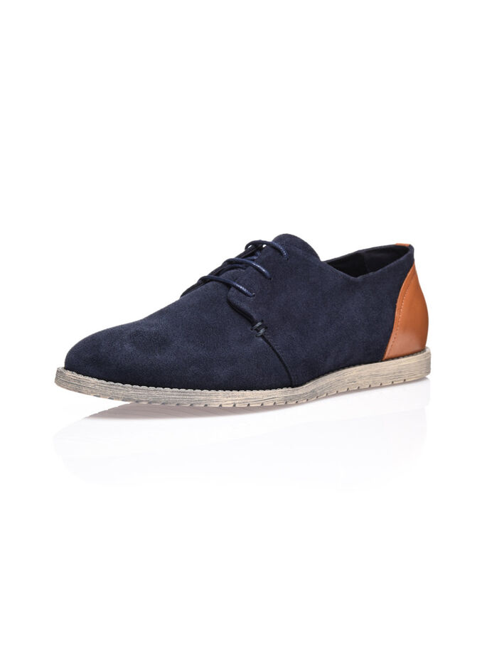 MEN'S SUEDE DERBY SHOES, Navy Blue, large