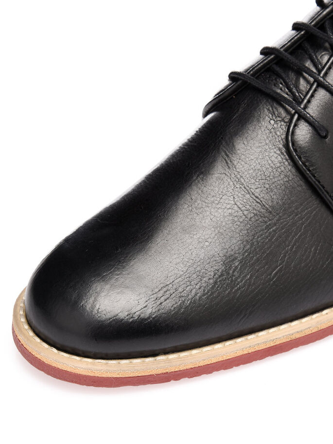 MEN'S CREPE LACED UP DERBY SHOES, Black, large