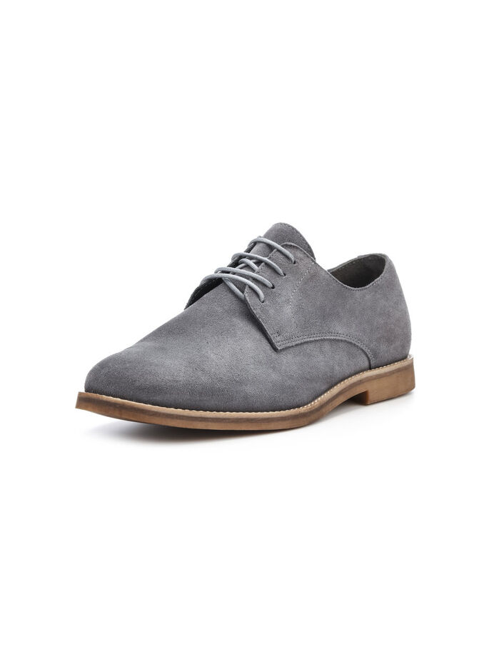 MEN'S CASUAL DERBY SHOES, Grey, large