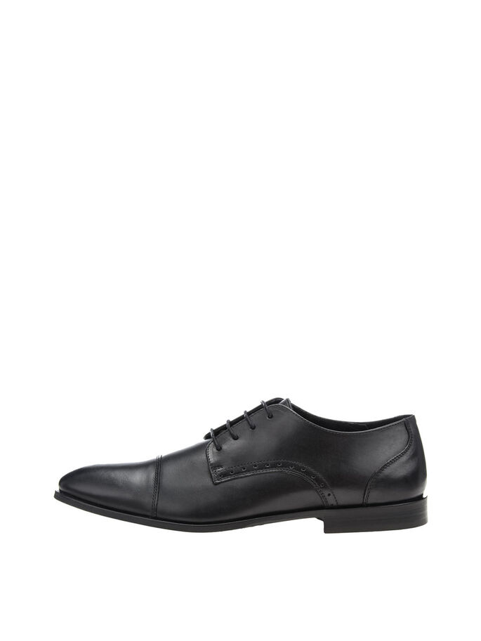 MEN'S DRESS TOE CAP SHOES, Black, large